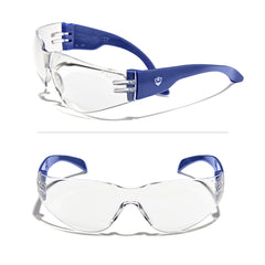 Defender Safety VS1 Safety Glasses, impact-resistant Anti Scratch, ANSI Z87 (Clear Lens/Blue Frame) 30PCS - Defender Safety Products