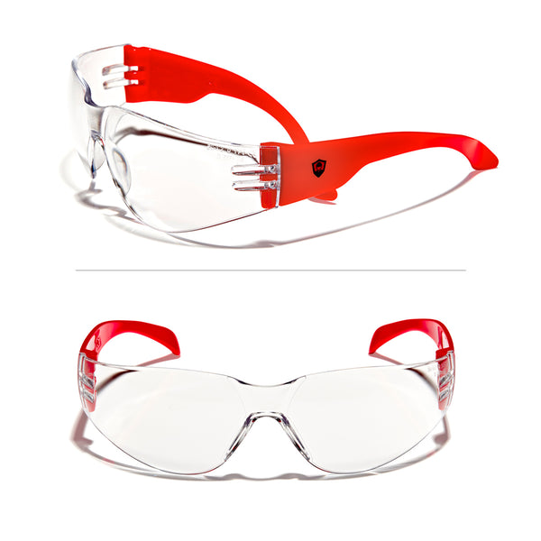 Defender Safety VS1 Safety Glasses, impact-resistant Anti Scratch, ANSI Z87 (Clear Lens/Red Frame) 30PCS - Defender Safety Products
