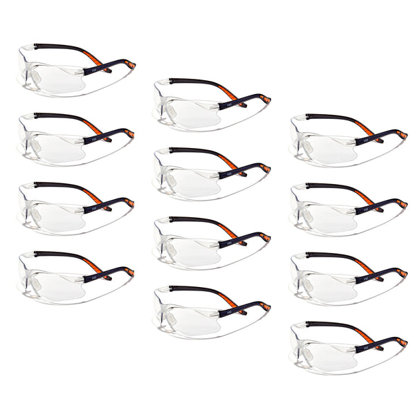 Defender Safety VS2 Safety Glasses, impact-resistant Anti Scratch, ANSI Z87 (Clear Lens/Black Frame) 12PCS - Defender Safety Products