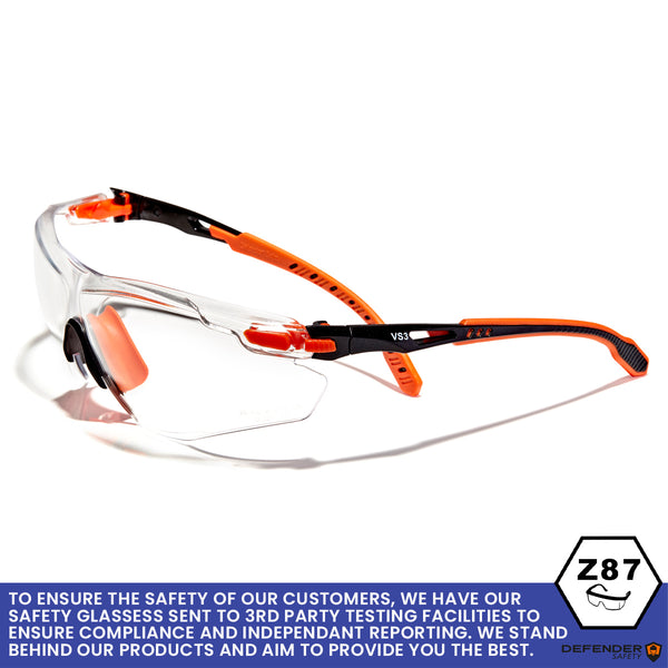 Defender Safety VS3 Safety Glasses, impact-resistant Anti Scratch, ANSI Z87 (Clear Lens/Black Frame) - Defender Safety Products