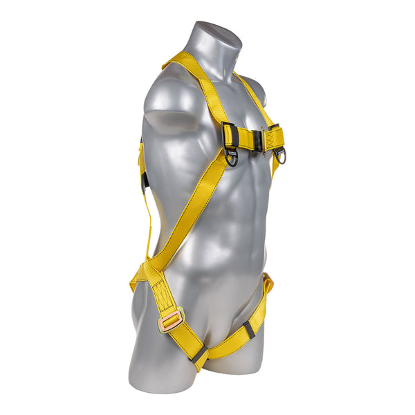 Construction Safety Harness 3 Point Pass-Thru Legs, Back D-Ring, Yellow - Defender Safety Products