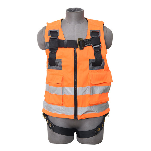 Construction Safety Harness/Vest Combo 3 Point, Grommet Legs, Back D-Ring, Orange - Defender Safety Products