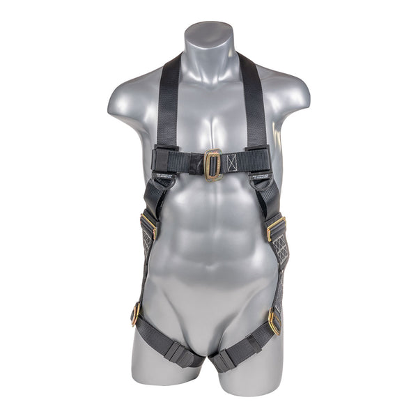 Construction Safety Harness 5 Point, Pass-Thru Legs, Back D-Ring, Black - Defender Safety Products