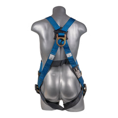Construction Safety Harness 5 Point, Grommet Legs, Back D-Ring, Blue - Defender Safety Products