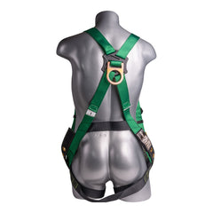 Construction Safety Harness 5 Point, Grommet Legs, Back D-Ring, Green - Defender Safety Products
