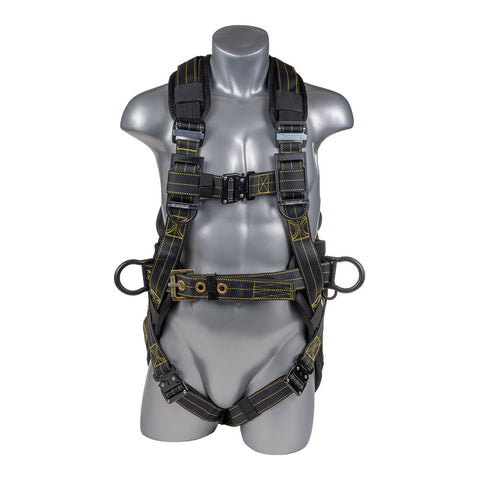 Construction Safety Harness 5 Point, Revolta Padded Back, Padded Grommet Legs, Back D-Ring, Black with Yellow Threading - Defender Safety Products
