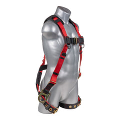 Construction Safety Harness 5 Point, Grommet Legs, Padded Back, Back/Side D-Ring, Red - Defender Safety Products
