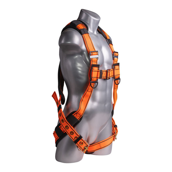 Construction Safety Harness 5 Point, QCB, Padded Back, Grommet Legs, Back D-Rings, Orange - Defender Safety Products