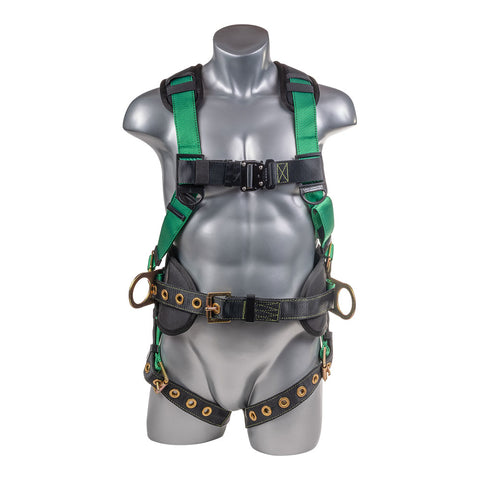 Construction Safety Harness 5 Point, Back Padded, QCB Chest, Grommet Legs, Back/Side D-Ring, Positioning Belt, Green - Defender Safety Products