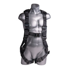 Construction Safety Harness 5 Point, QCB, Padded Back, Grommet Legs, Back D-Ring, Black - Defender Safety Products