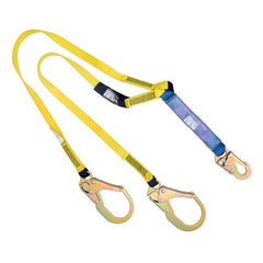 Construction Safety Lanyard 6 Ft. Shock Absorber, Rebar Hooks, Double Leg - Defender Safety Products
