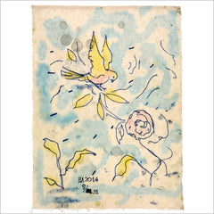 Monoprint - Flower Bird in the Impossible Garden 5/31 by Harry Adams