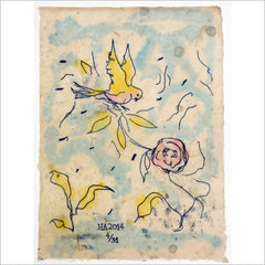 Monoprint - Flower Bird in the Impossible Garden 4/31 by Harry Adams