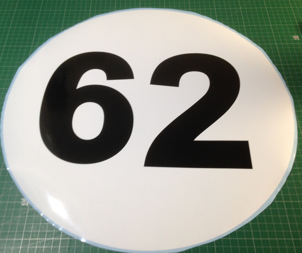 Sticker historic style round race door numbers