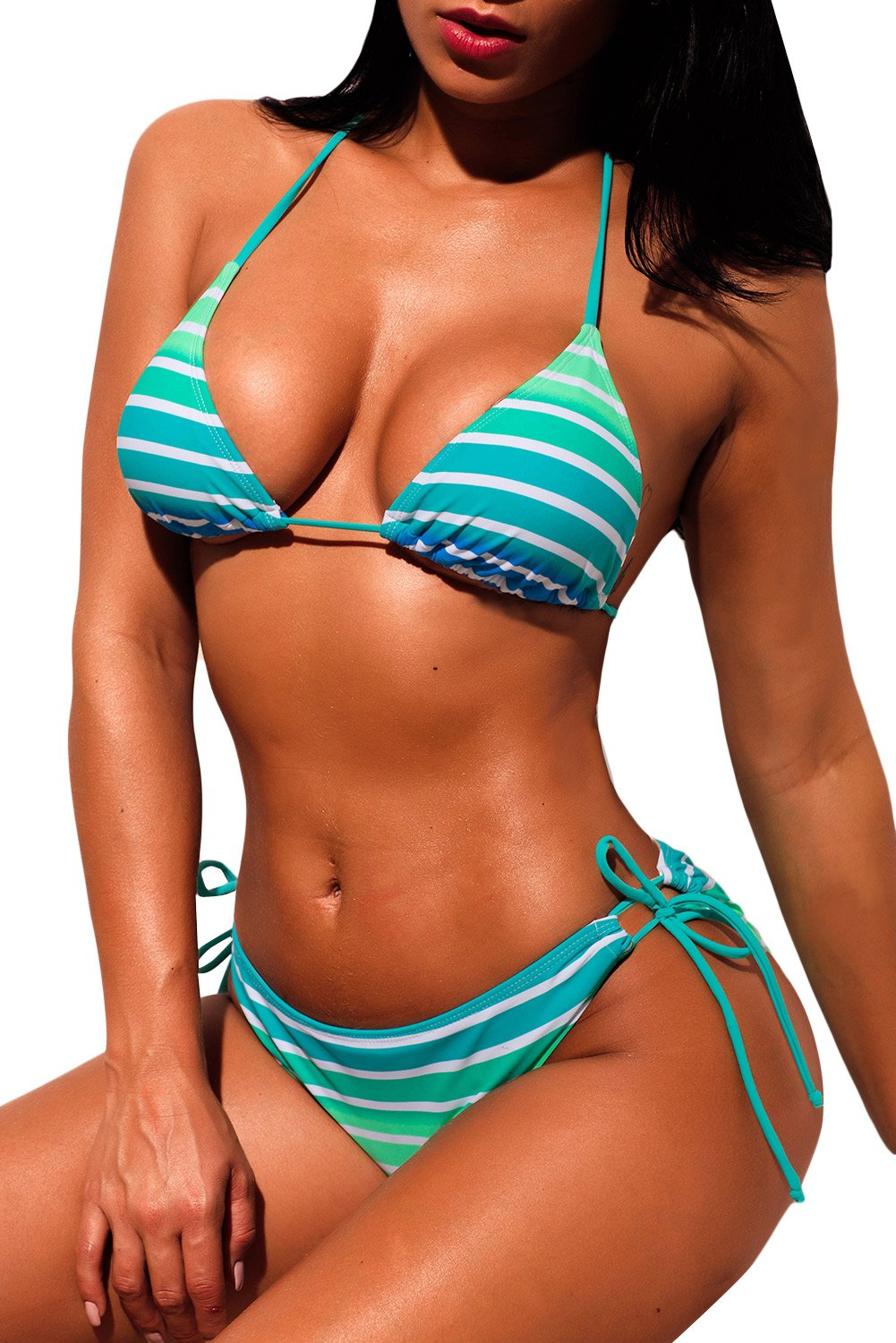 Ombre Green Striped Halter Bikini with Ties