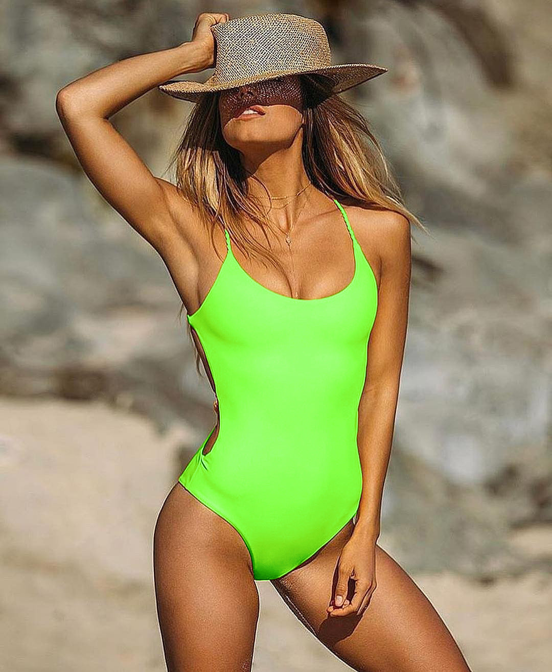 Solid Color one-piece High Waist Bikini Swimsuit