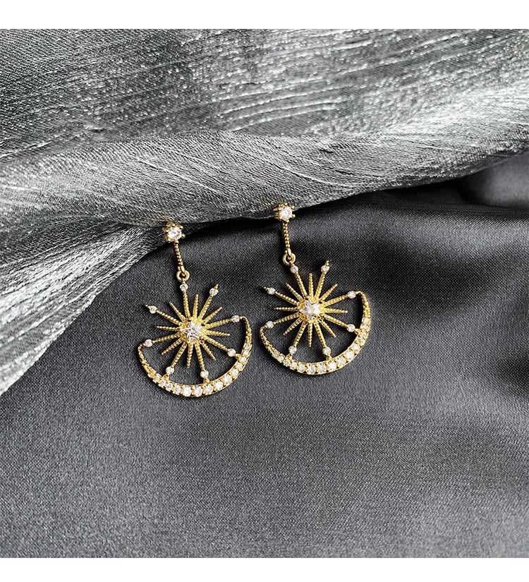 Elaine Star Moon Drop Earrings 80074