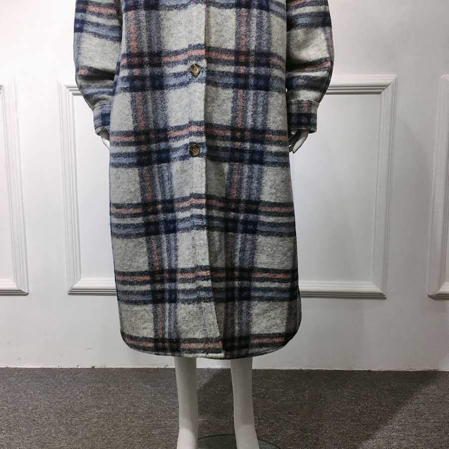 Classy full length long tweed cashmere coat wool peacoat