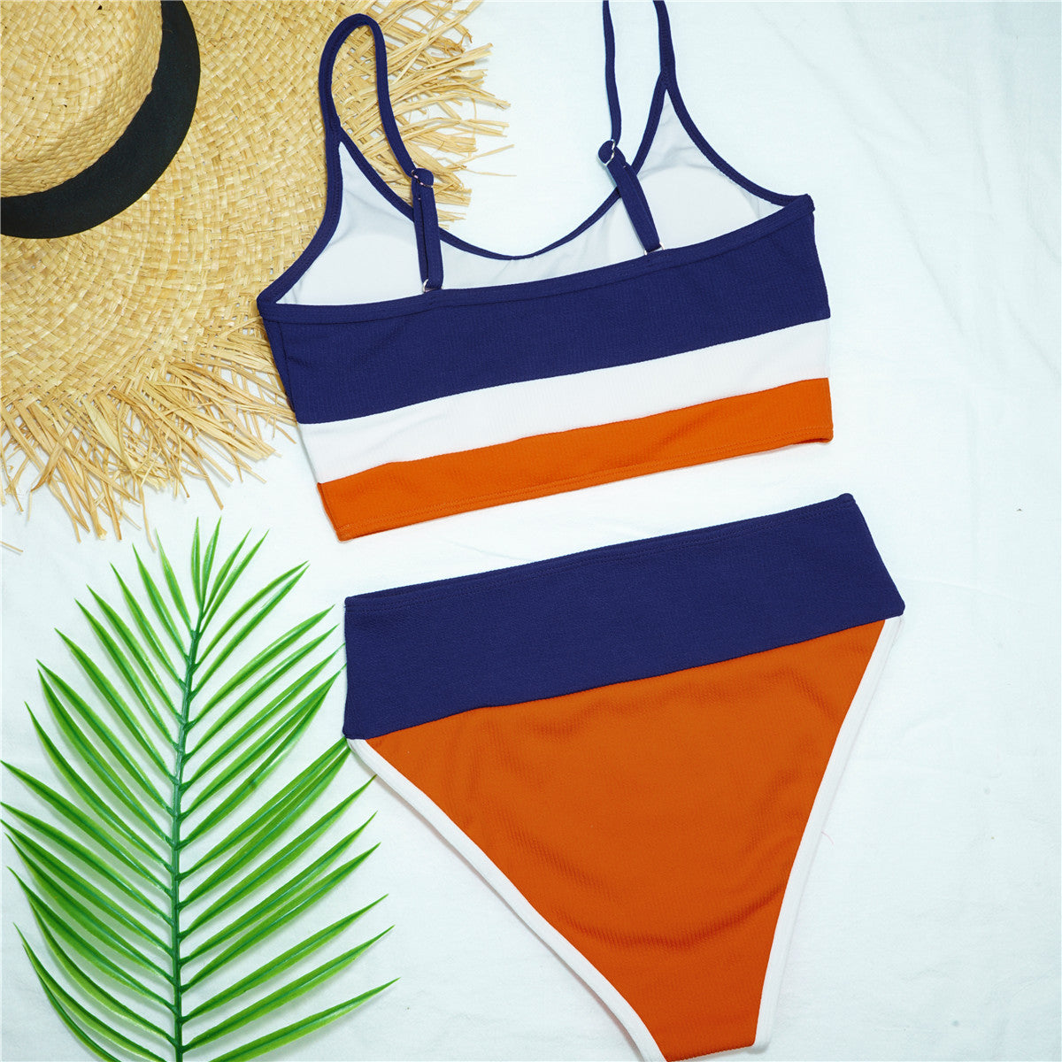 Stripe Stitching High Waist 2pcs Bikini Swimsuit