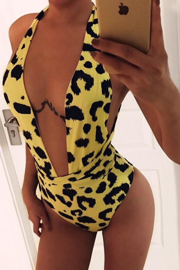 Yellow Leopard One-piece Swimsuit