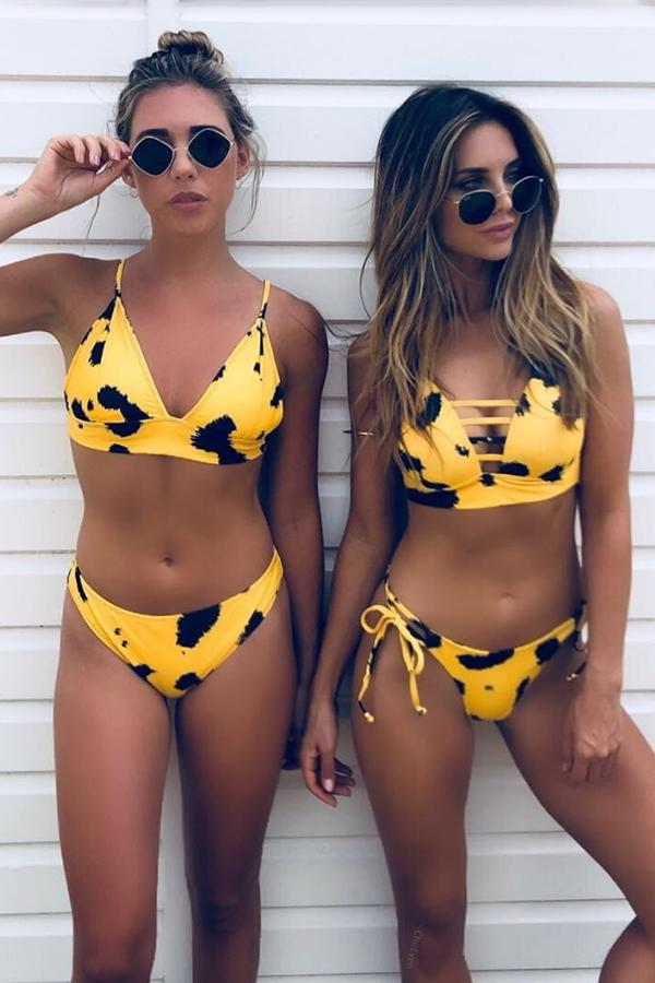 Yellow Leopard Print Sexy Swimsuit