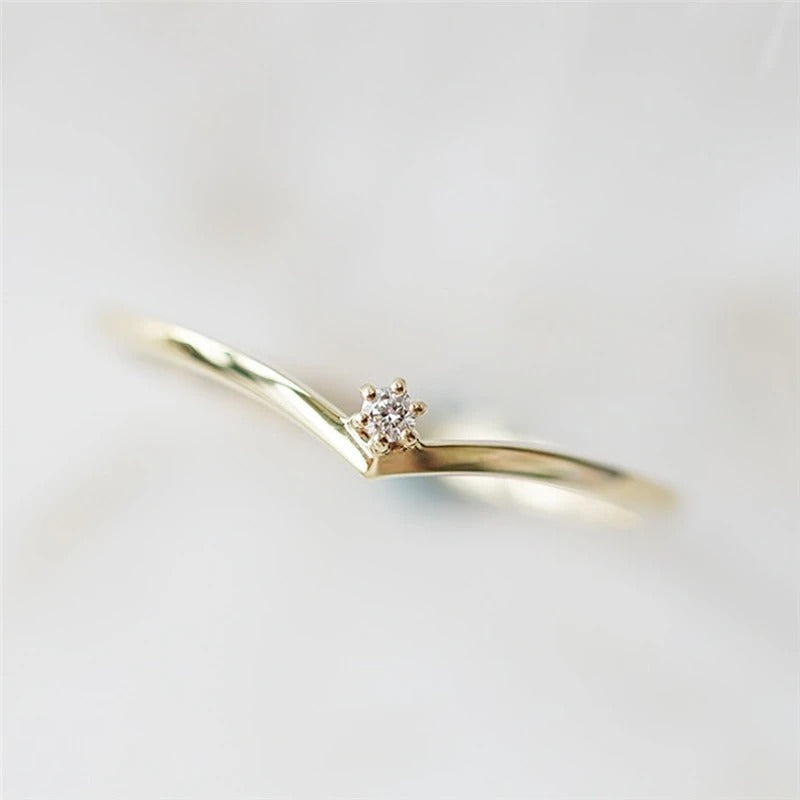 V Shape Crystal Ring