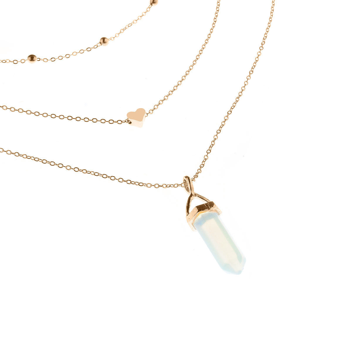 Natural Opal Stone Heart Choker Necklace
