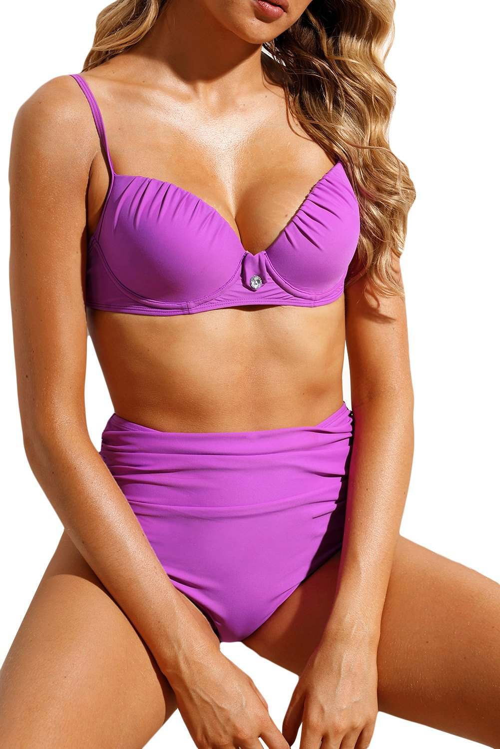 Lilac Simple Diamond Detail High Waist Bikini