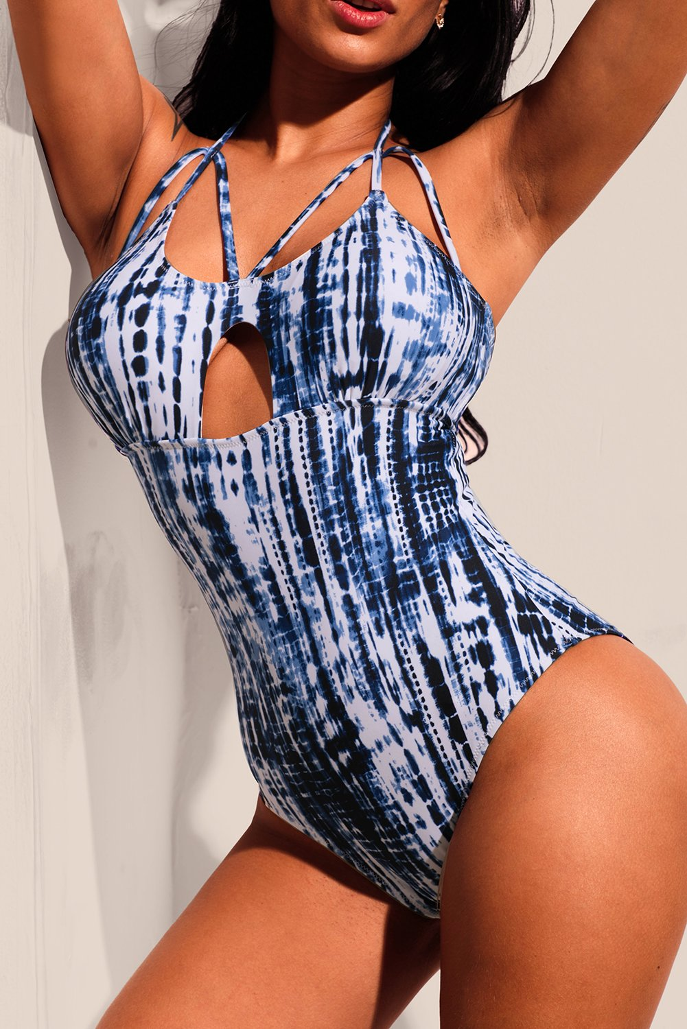 Randomness Blue Tie Dye Print Caged One-piece Swimwear