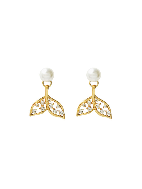 Jane Fish Tail Gold Crystal Earrings 80067