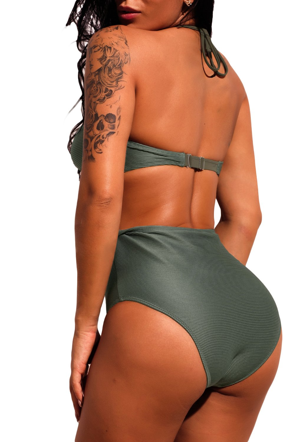 Dark Olive Lace-up Detail Ribbed High Waist Swimsuit