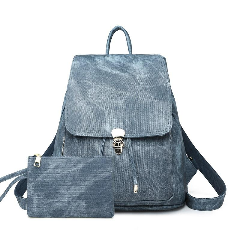Imitation Denim Pattern Backpack
