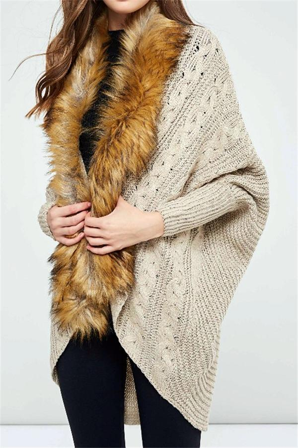 Oversized Furry Fur Collar Trim Batwing Knit Cardigan Sweaters