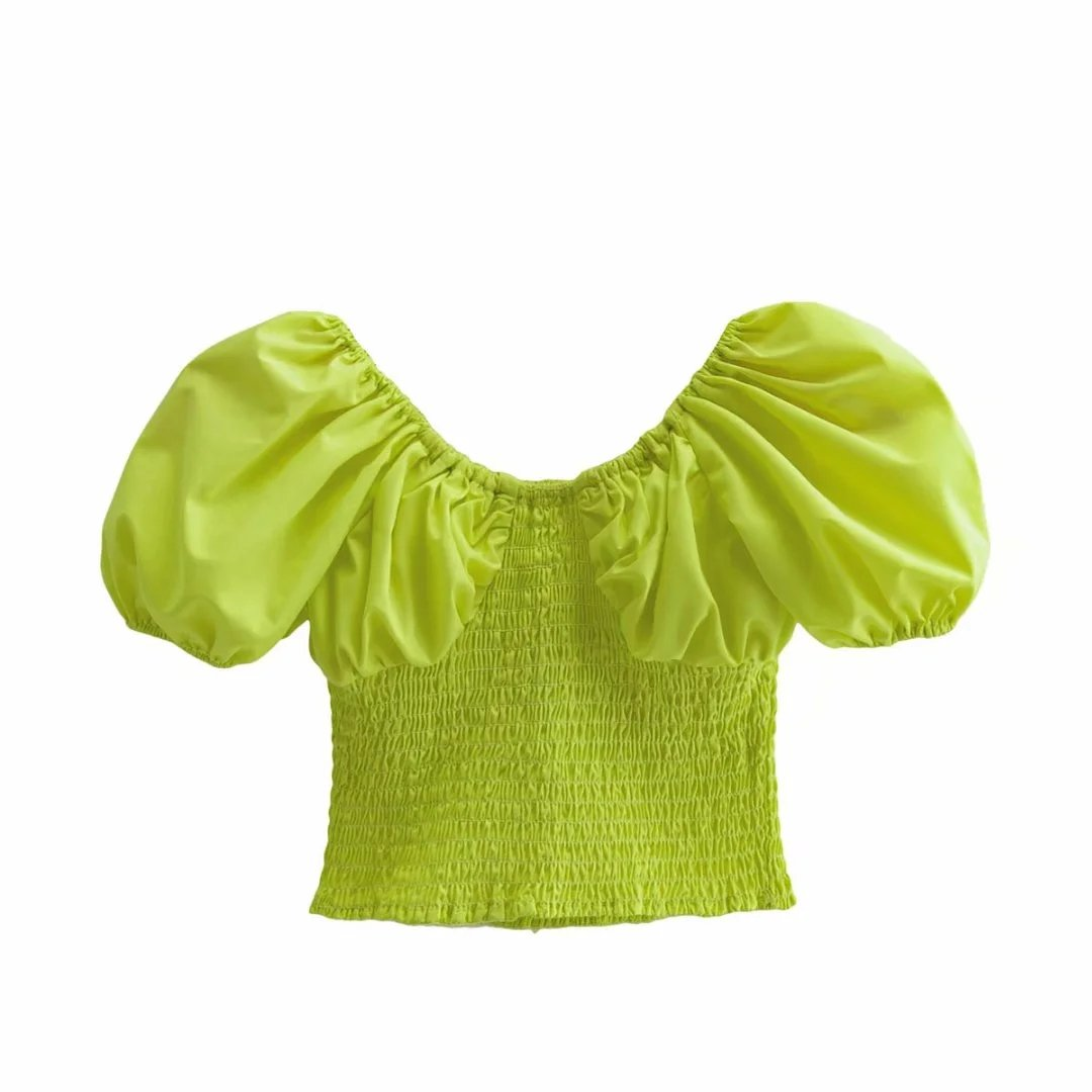 Emmie Shirred Puff Sleeve Top