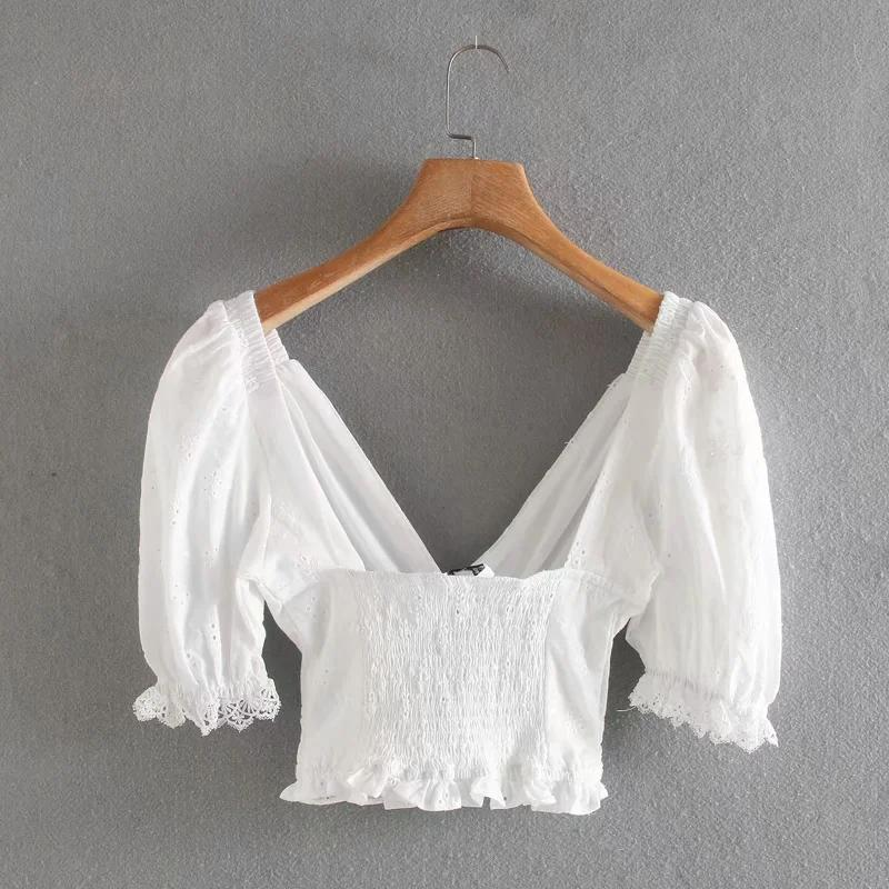 Ivory Shirred Eyelet Top