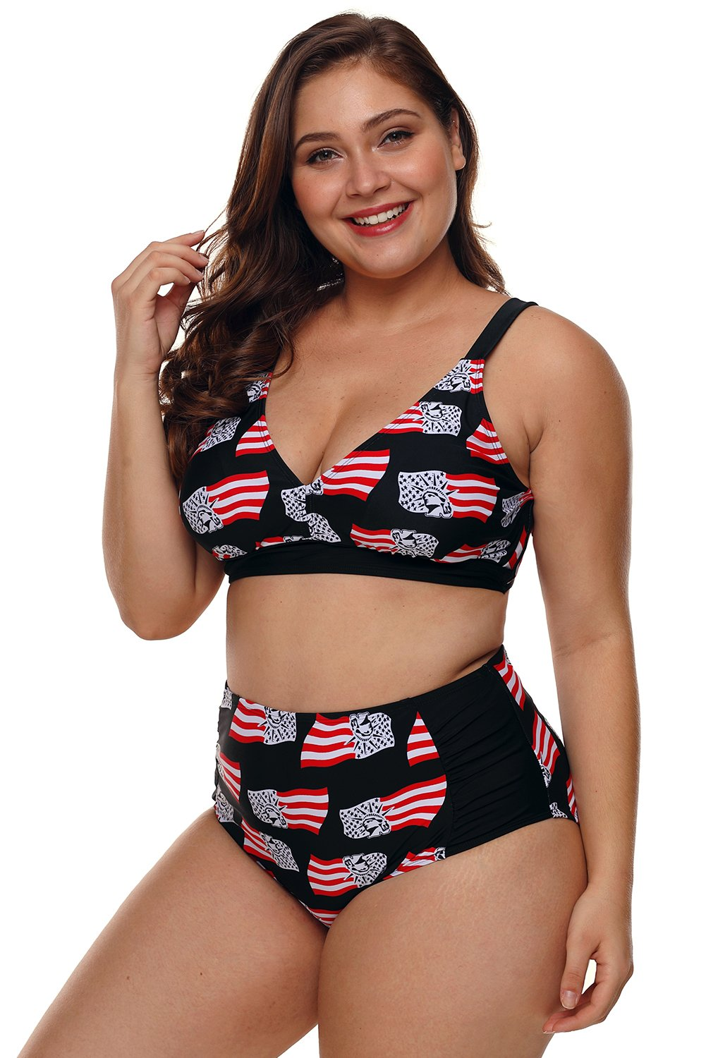 Statue of Liberty American Flag High Waisted Swimsuit