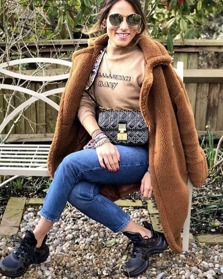 Long Faux Fur Camel Teddy Coat Maxi Jackets