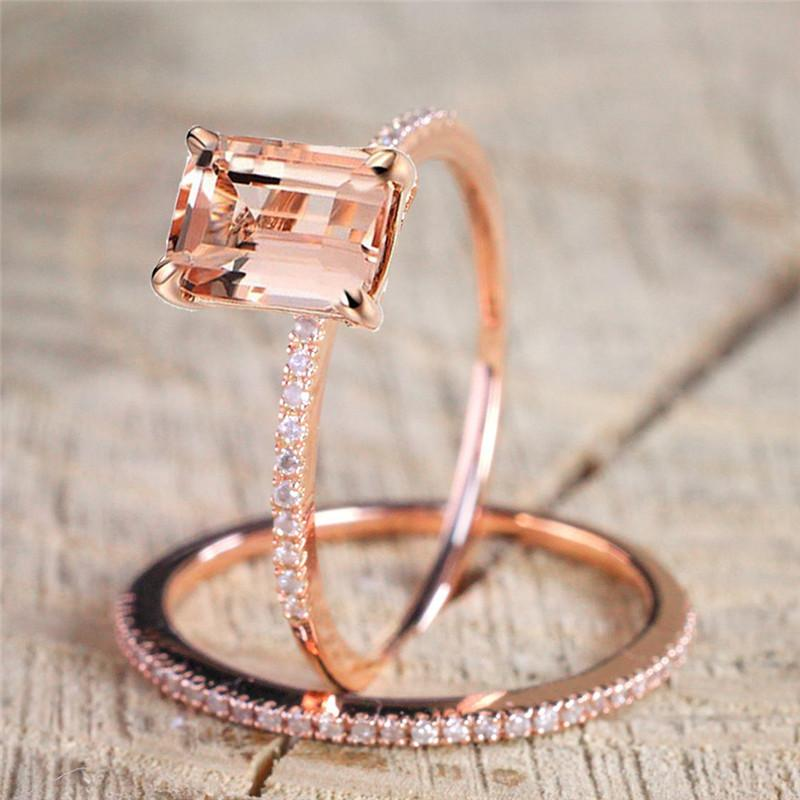 Rose Gold Engagement Ring Set