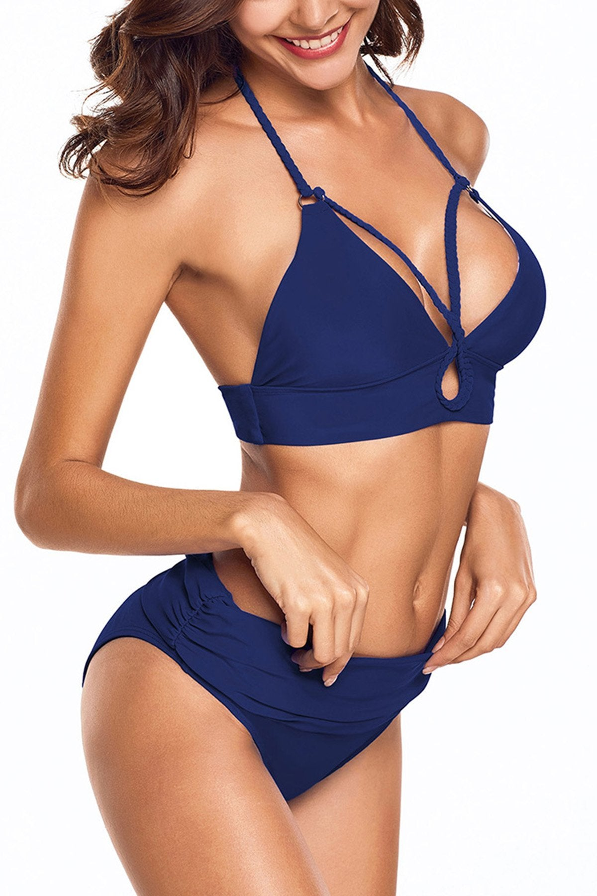 Navy Blue Braided Halter Bikini 2pcs Swimsuit