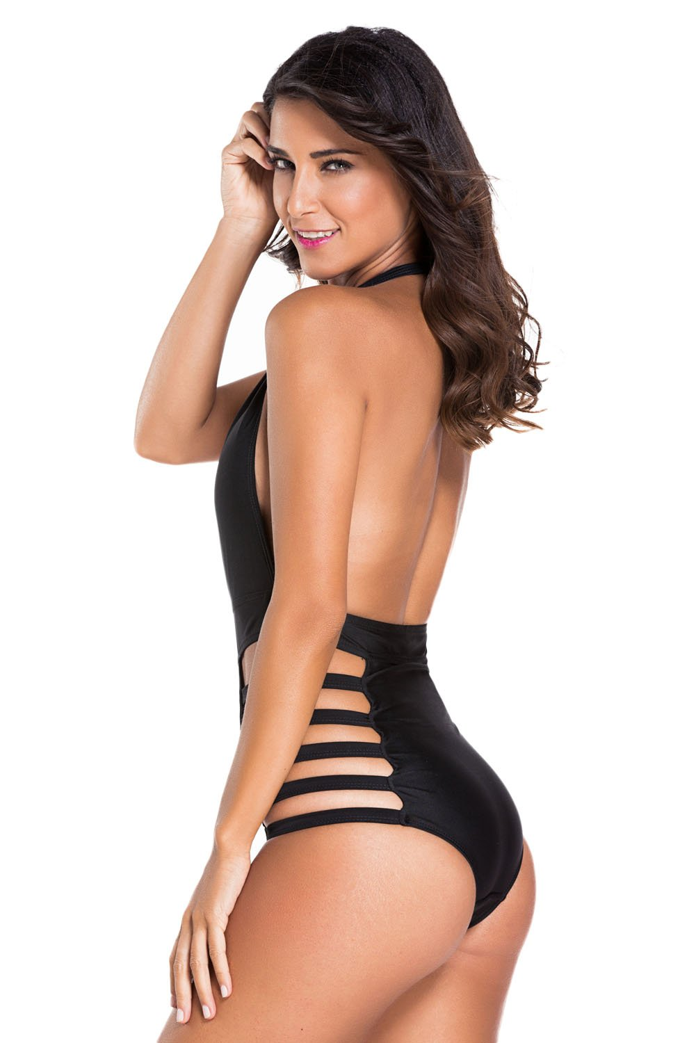 Plunge Neck Strappy Sexy Backless Teddy Swimsuit