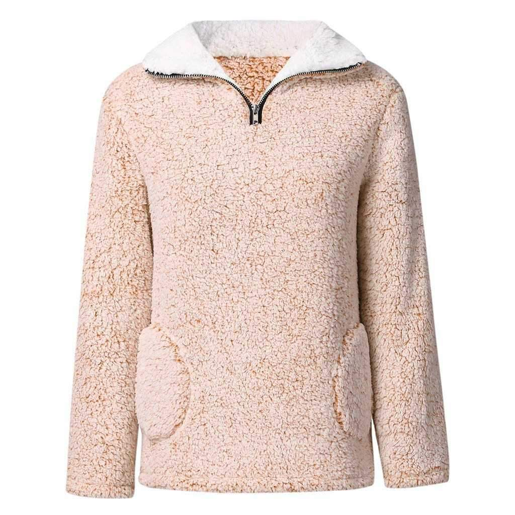Quarter Zip Sherpa Fleece Polo Teddy Bear Better Sweater Pullover