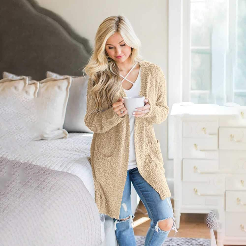 Oversized Fall Knitted Open Front Popcorn Long Cardigan Sweater With Pockets
