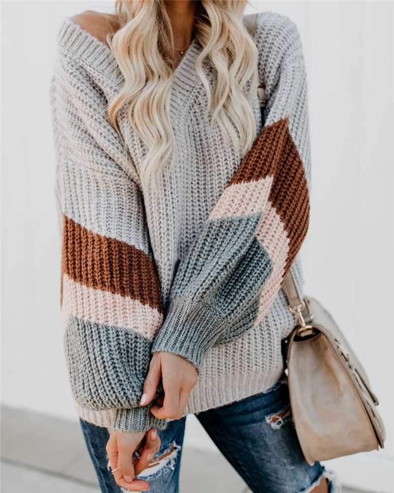 Oversized Color Block Chevron Stripes Off The Shoulder Knit Pullover Sweater