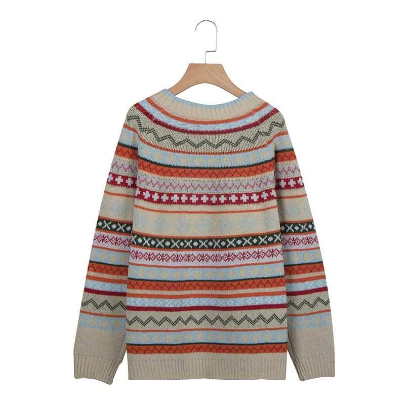 Retro Fall Knit British Crew Neck Striped Pullover Sweaters