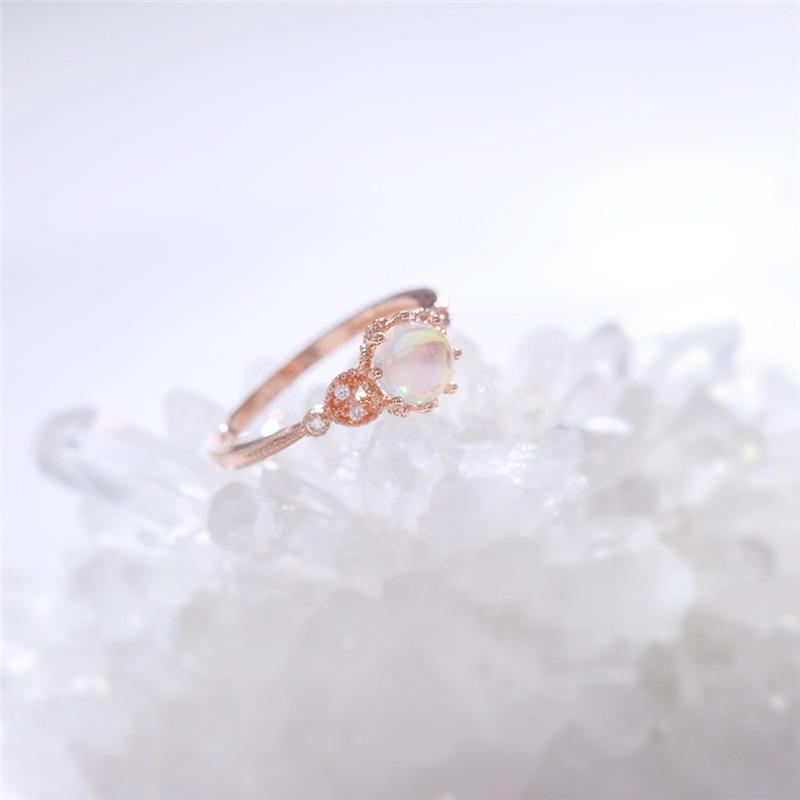 Crystal Leaf Flower Ring