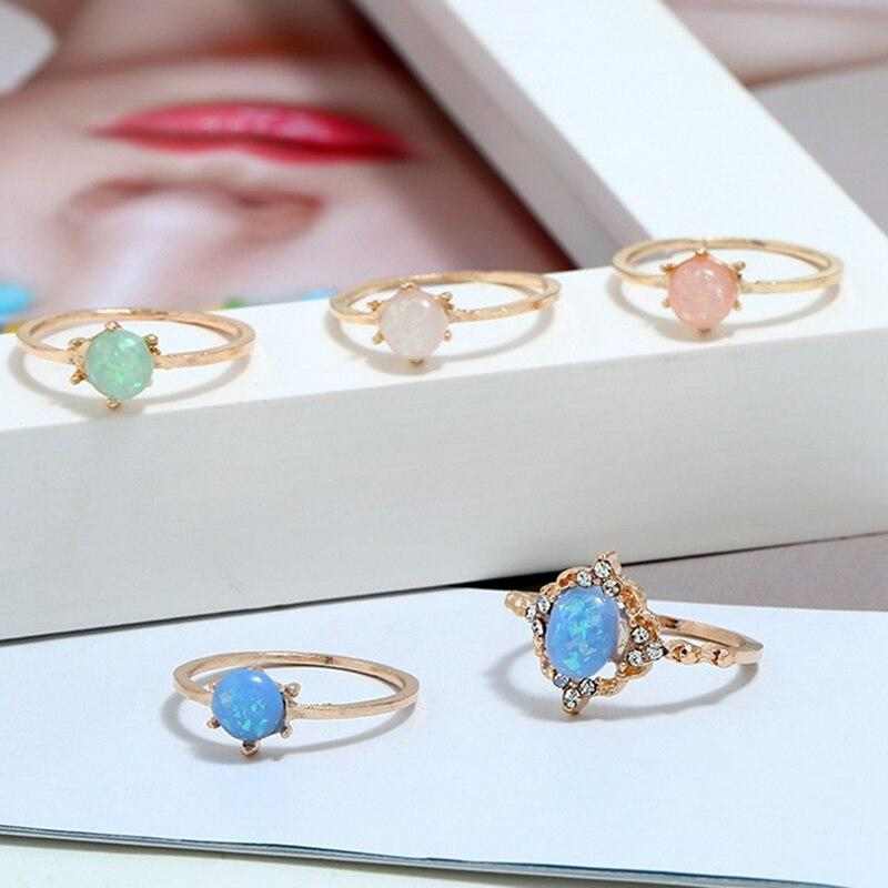 5pcs/Set Opal Rings