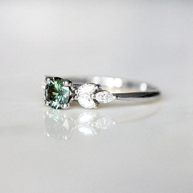 Dainty  Crystal Engagement Ring