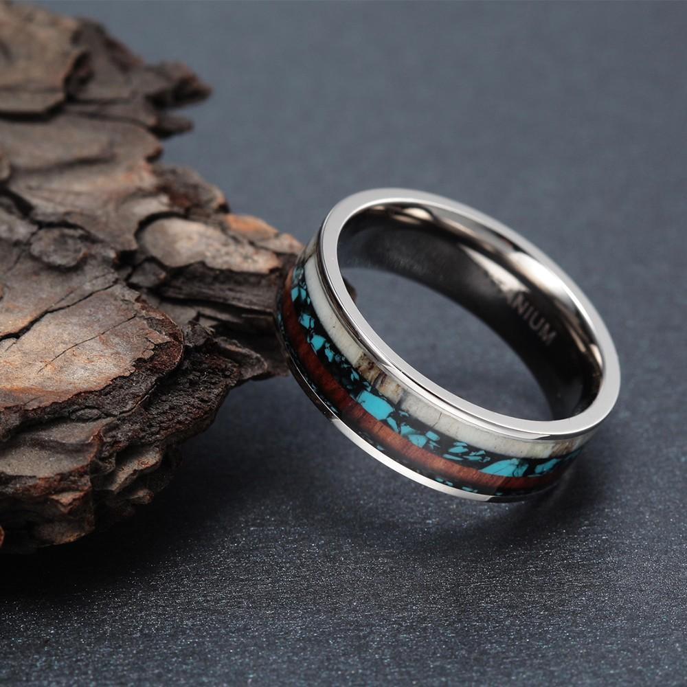 Men's Natural Wood Inlay Ring