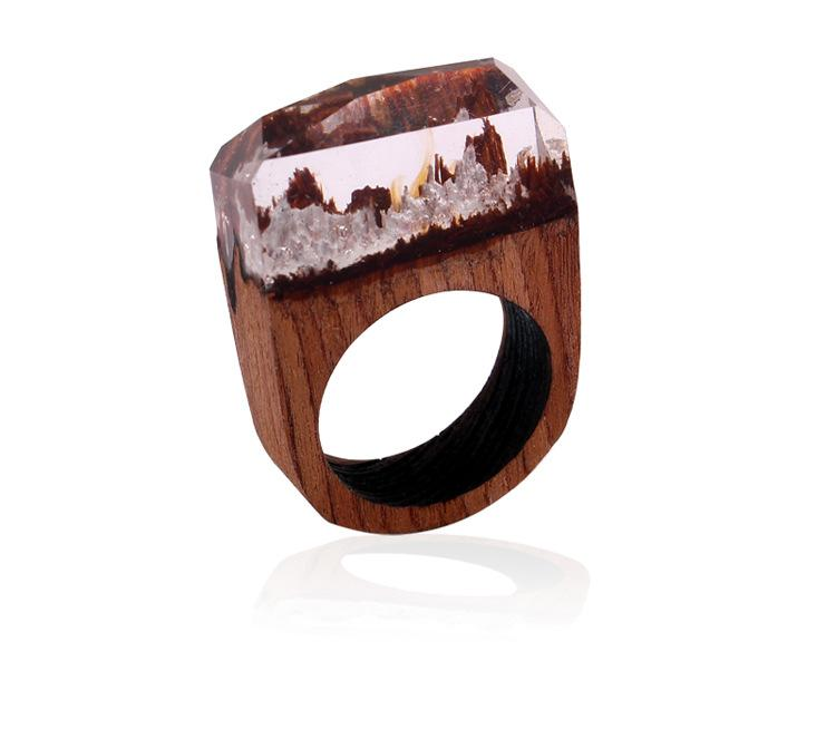 Crystal Castles Resin and Wood Ring