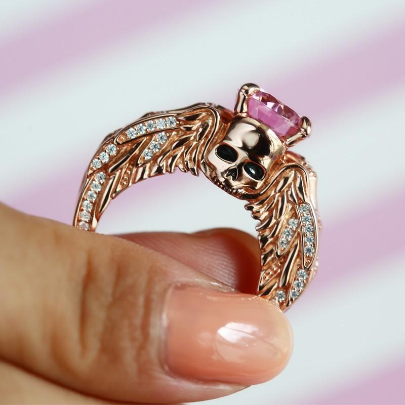 Luxury Rose Gold Skul  Ring With Angel Wings